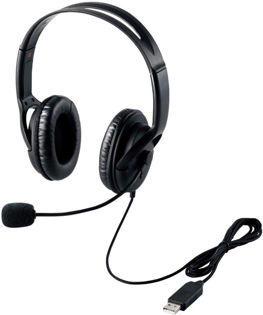 エレコムのUSB有線ヘッドセット両耳