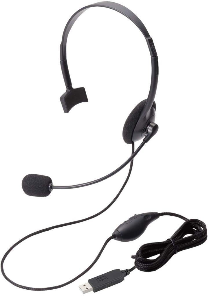 エレコムの片耳USB有線ヘッドセット