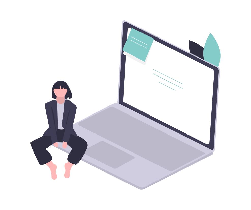 Surfaceのパソコンの上に座る女性