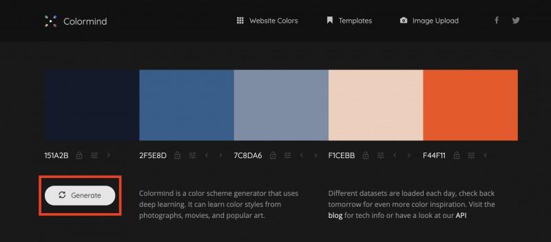 配色ツールColormindのGenerateボタンの使い方
